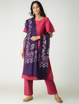 Purple-Ivory Bandhani Cotton Mul Dupatta with Mukaish