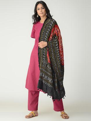Red-Black Bandhani Gajji Silk Dupatta with Tassels