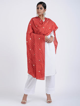 Red Bandhani Mulberry Silk Dupatta with Seqins-work