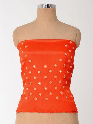 Orange-Beige Mashru Blouse Fabric with Mirror-work