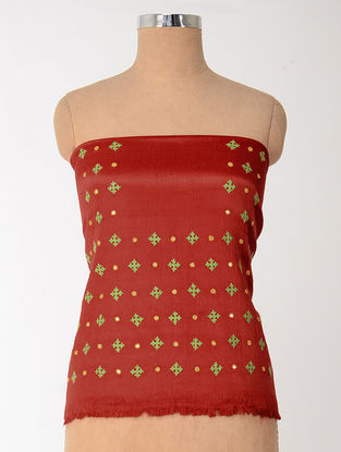 Red-Green Rabari-embroidered Mashru Blouse Fabric with Mirror-work