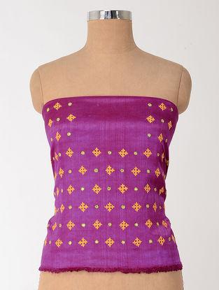 Magenta-Yellow Rabari-embroidered Mashru Blouse Fabric with Mirror-work