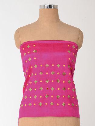 Pink-Green Rabari-embroidered Mashru Blouse Fabric with Mirror-work