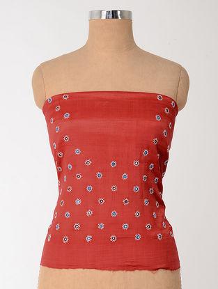 Red-Blue Mashru Blouse Fabric with Mirror-work