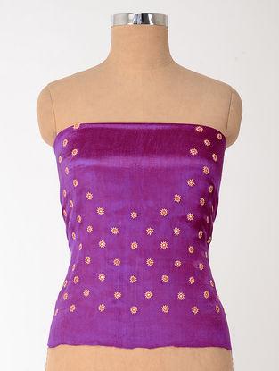 Magenta-Orange Mashru Blouse Fabric with Mirror-work