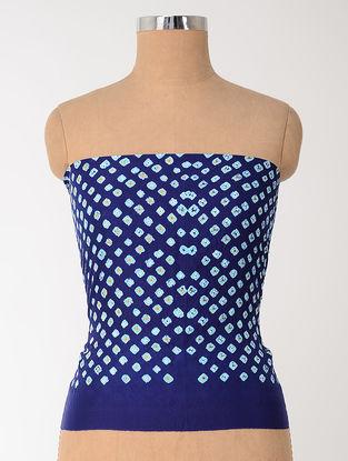Blue-Ivory Bandhani Mulberry Silk Blouse Fabric