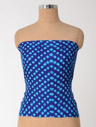 Blue-White Bandhani Mulberry Silk Blouse Fabric