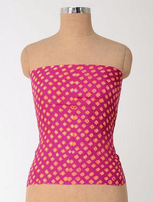 Pink-Orange Bandhani Mulberry Silk Blouse Fabric