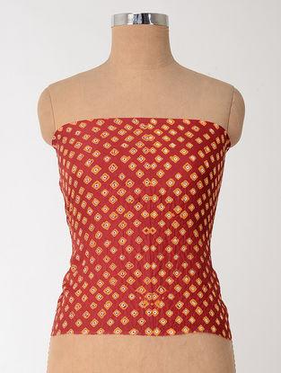Red-Orange Bandhani Mulberry Silk Blouse Fabric