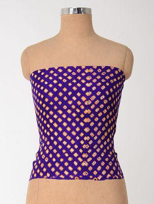Blue-Orange Bandhani Mulberry Silk Blouse Fabric