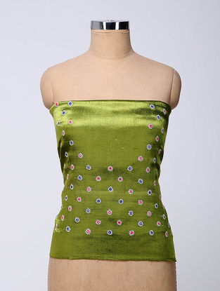 Green-Blue Hand-embroidered Mashru Blouse Fabric