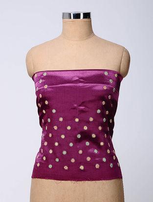 Purple Hand-embroidered Mashru Blouse Fabric