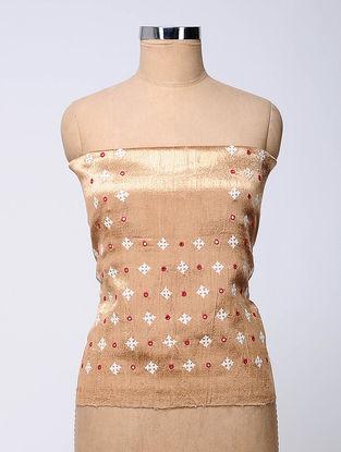 Beige-Ivory Rabari-embroidered Mashru Blouse Fabric