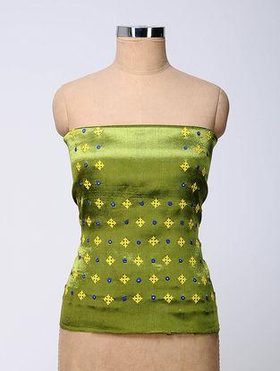 Green-Yellow Rabari-embroidered Mashru Blouse Fabric