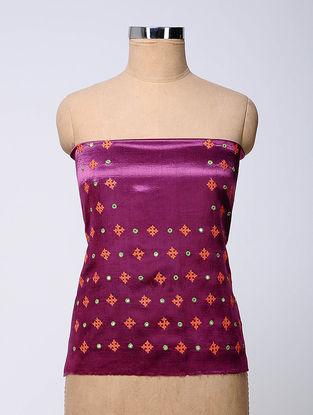 Purple-Orange Rabari-embroidered Mashru Blouse Fabric