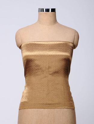 Beige-Blue Rabari-embroidered Mashru Blouse Fabric