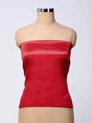 Red Rabari-embroidered Mashru Blouse Fabric