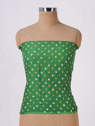 Green-Orange Bandhani Cotton Cambric Blouse Fabric with Mirror-work