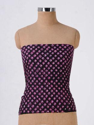 Black-Purple Bandhani Mulberry Silk Blouse Fabric