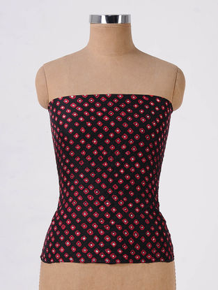 Black-Red Bandhani Mulberry Silk Blouse Fabric