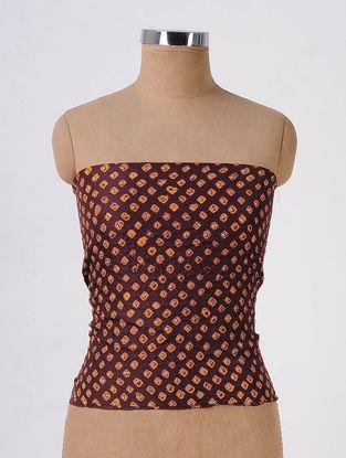 Maroon-Orange Bandhani Mulberry Silk Blouse Fabric