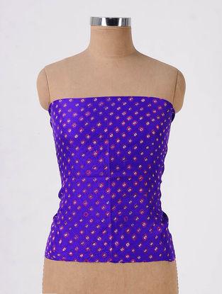 Blue-Pink Bandhani Mulberry Silk Blouse Fabric