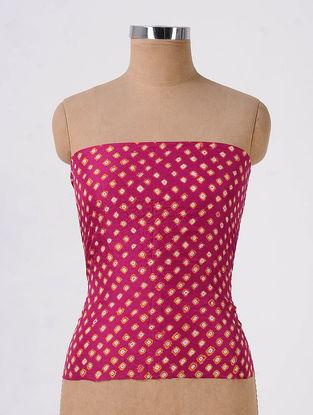 Pink-Ivory Bandhani Mulberry Silk Blouse Fabric