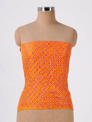 Orange-Pink Bandhani Mulberry Silk Blouse Fabric