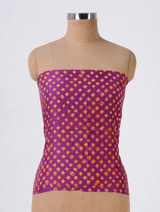 Purple-Orange Bandhani Mulberry Silk Blouse Fabric