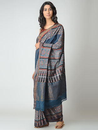 Blue-Red Ajrakh-printed Mangalgiri Cotton Saree with Zari