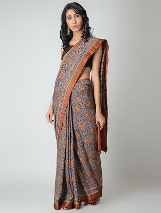 Blue-Madder Ajrakh-printed Mangalgiri Cotton Saree with Zari