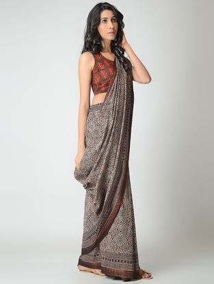 Ivory-Black Ajrakh-printed Mangalgiri Cotton Saree with Zari