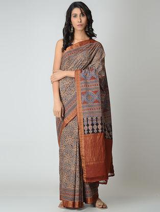 Beige-Madder Ajrakh-printed Mangalgiri Cotton Saree with Zari