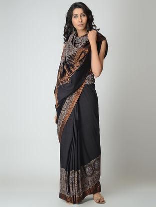 Black-Blue Ajrakh-printed Mangalgiri Cotton Saree with Zari
