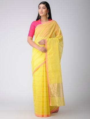 Yellow-Pink Chanderi Saree with Zari