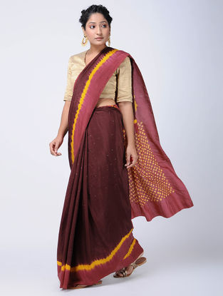 Maroon-Yellow Bandhani Mulberry Silk Saree with Mukaish-work