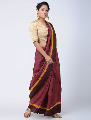 Red-Maroon Bandhani Mulberry Silk Saree with Mukaish-work