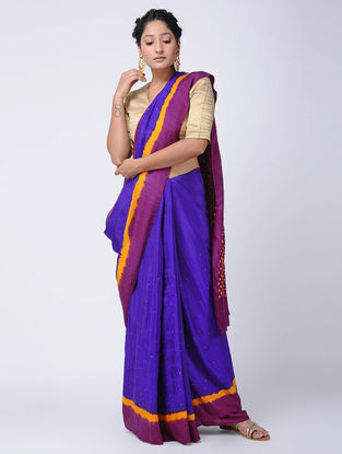 Blue-Purple Bandhani Mulberry Silk Saree with Mukaish-work