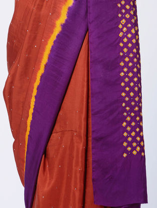 Red-Purple Bandhani Mulberry Silk Saree with Mukaish-work