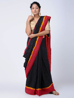 Black-Red Bandhani Mulberry Silk Saree with Mukaish-work