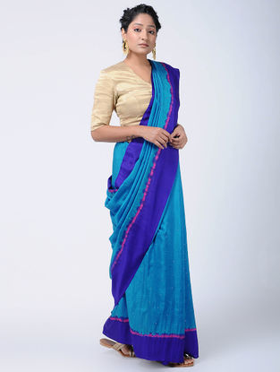 Blue-Pink Bandhani Mulberry Silk Saree with Mukaish-work