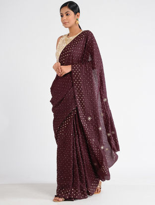 Maroon Bandhani Mulberry Silk Saree with Sequins and Zari
