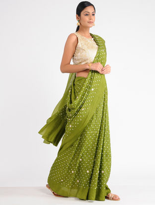Green-Ivory Bandhani Mulberry Silk Saree with Sequins and Zari