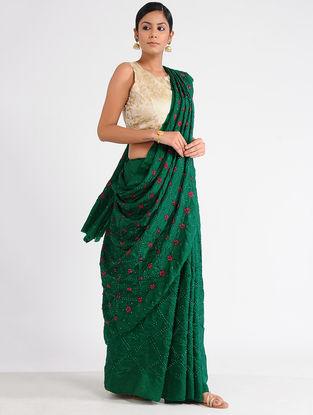 Green-Red Bandhani Mulberry Silk Saree with Mukaish-work