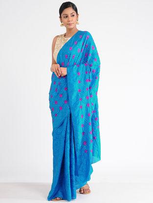 Blue-Pink Bandhani Mulberry Silk Saree with Mukaish-work