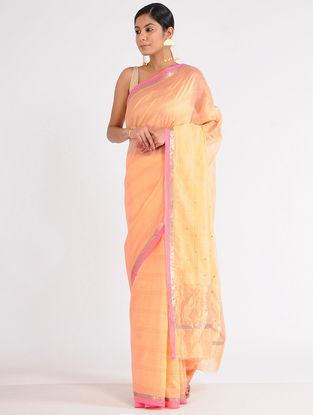 Peach-Yellow Chanderi Saree with Sequins-work and Zari