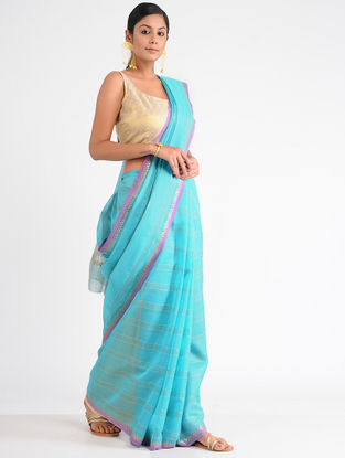 Turquoise-Pink Chanderi Saree with Sequins-work and Zari