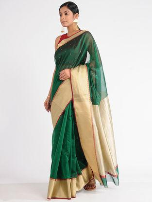 Green Chanderi Saree with Mukaish Work and Zari
