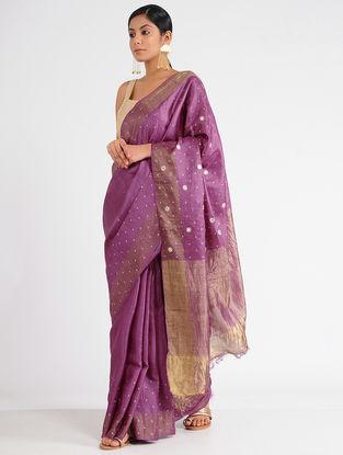 Purple Tussar Silk Saree with Sequins and Zari