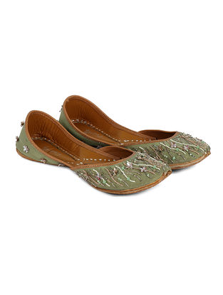 Green Handcrafted Silk and Leather Juttis with Sequin and Bead Work